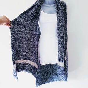 Blue Knit Waterfall Cozy Warm Vest